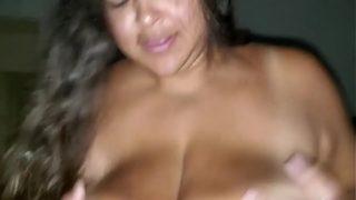 Big tit lesbian latina babe having sex with real cock