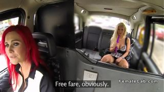 Busty female taxi driver licks blonde