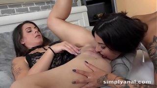 Dildo ass fucking for horny brunettes – Lesbian Anal Sex