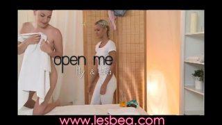 Lesbean Cute teen with great ass has intense orgasm after massage
