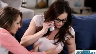 Stepdaughter teen licks MILF stepmom for attention