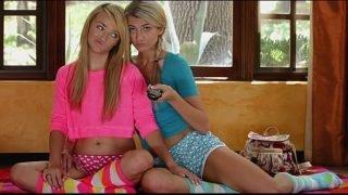Stunning young blonde lesbians make love