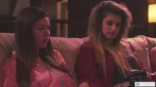 Three Step sisters watching porn videon on movie night –