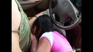 Two Half Naked Lesbians In Car Enjoying