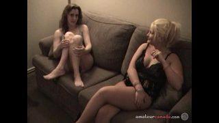 Two lesbian Canadian Milf mutually masturbate in hotel room as I film